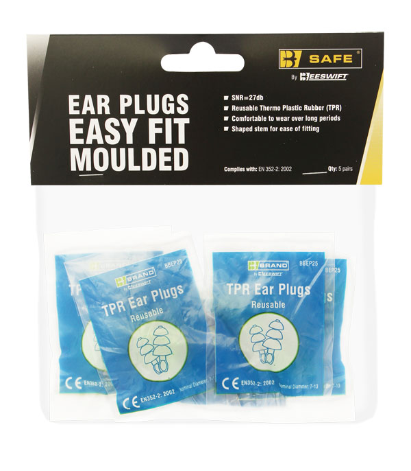 TPR EASY FIT EAR PLUGS 5 PACK  - BS002