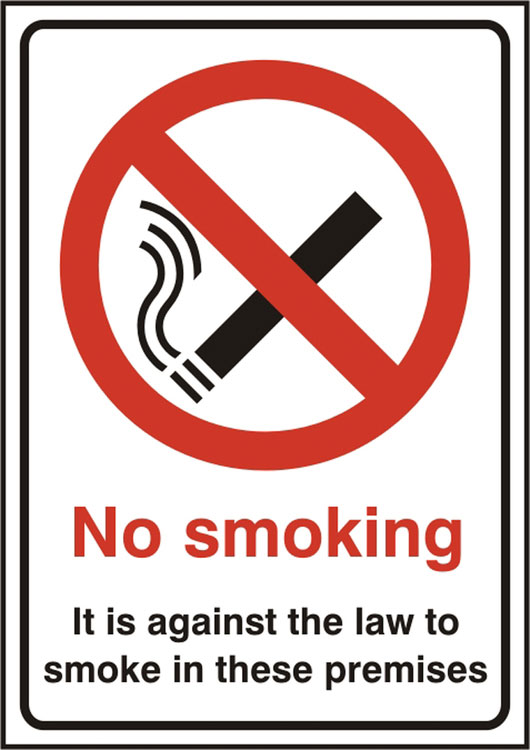 NO SMOKING ITS AGAINST THE LAW SIGN - BSS11855