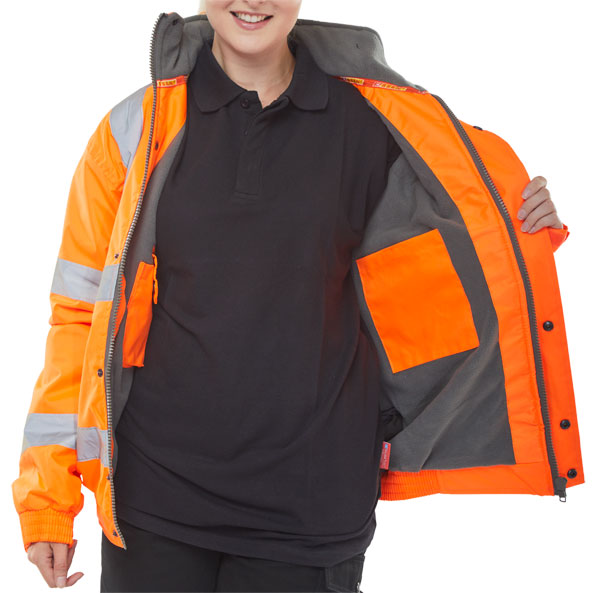HIGH VISIBILITY FLEECE LINED BOMBER JACKET - CBJFLOR