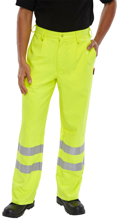 FIRE RETARDANT HI-VIS ANTI STATIC TROUSERS - CFRPHVASTR