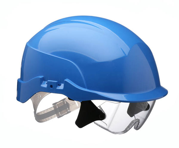 SPECTRUM SAFETY HELMET BLUE C/W INTEGRATED EYE PROTECTION - CNS20BA