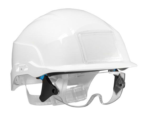 SPECTRUM SAFETY HELMET WHITE C/W INTEGRATED EYE PROTECTION - CNS20WA