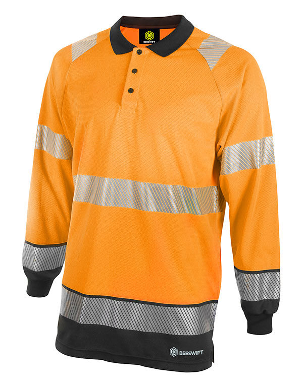 HIVIS TWO TONE POLO SHIRT LONG SLEEVE - HVTT015ORBL
