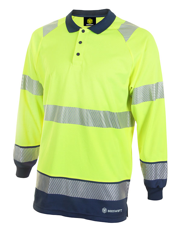 HIVIS TWO TONE POLO SHIRT LONG SLEEVE - HVTT015SYN