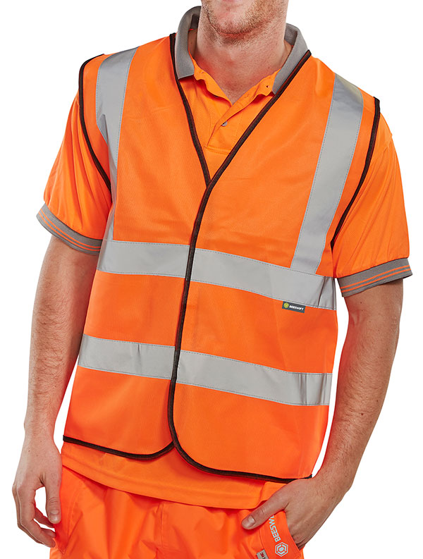 BSEEN EN ISO 20471 VEST ORANGE (BULK PACK) - BWCOR